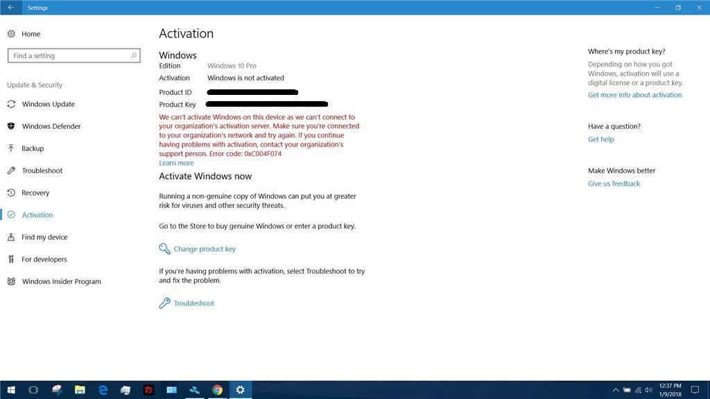 activate windows 10 home single language product key
