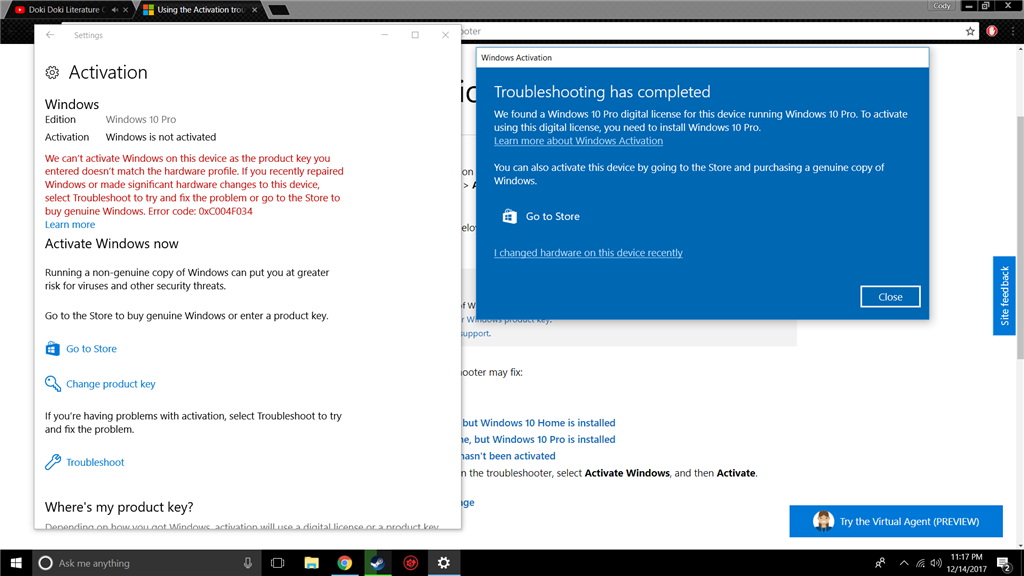 Windows 10 reinstall wont activate microsoft community we found a windows 10 pro digital license ccuart Image collections