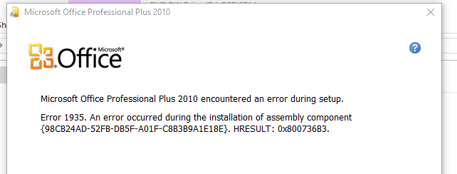 windows 10 office 2016 install error 1935