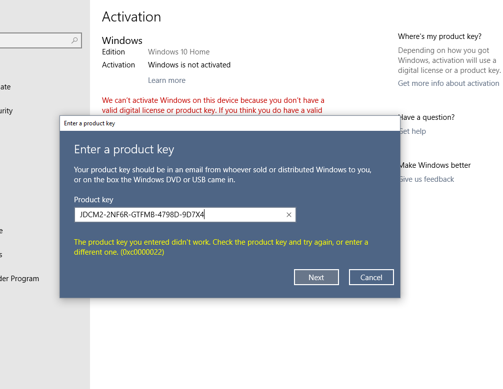 Reset of Windows 10 Home - and product key now will not work