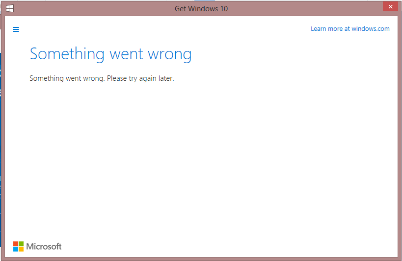 Can't upgrade to windows 10  'Something went wrong