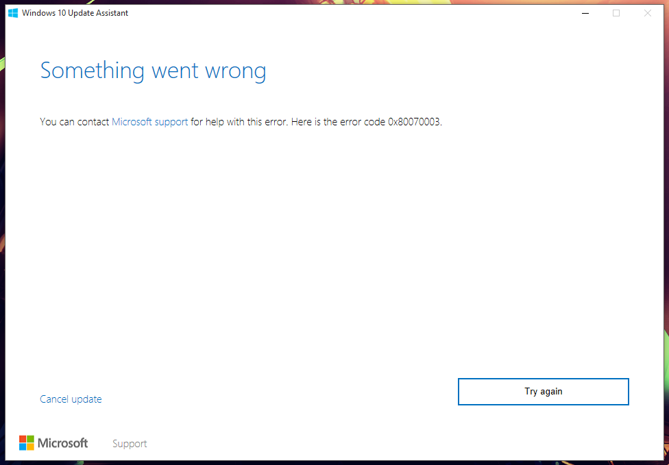 Can't get the latest Windows 10 Update (Error 0x80070003